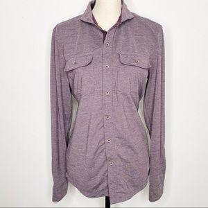 Prana Button Up Stretch Jersey Long Sleeve Shirt
